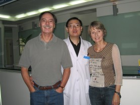 Posing with Dr Gong, our personal physician while in Beijing, he became a good friend and was most compassionate to Jim and I